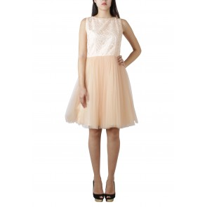 Andhita Siswandi Peach Sleeveless Mini Dress
