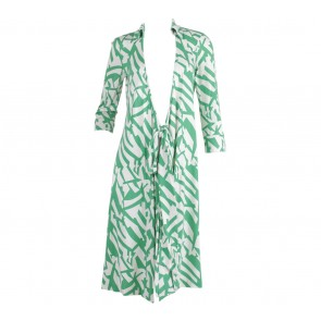 Diane Von Furstenberg Green And Off White Wrap Midi Dress