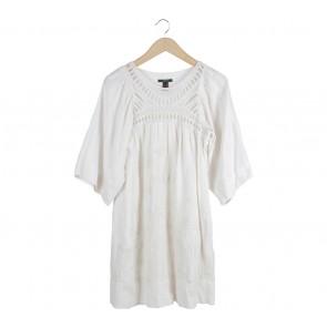 Mango Off White Embroidery Mini Dress