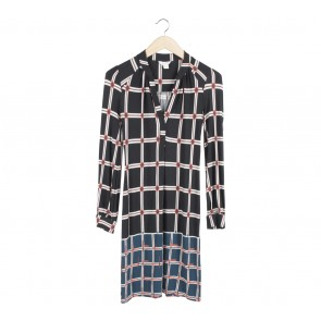 Monsoon Black And Dark Blue Patterned Mini Dress