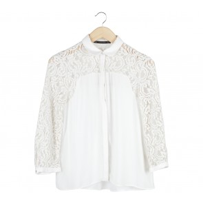 Zara Off White Lace Insert Shirt