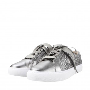 Tory Burch Silver Metallic Marion Quilted Sneakers