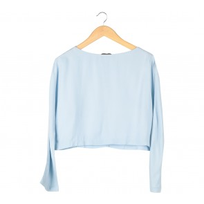 Zara Blue Cropped Blouse