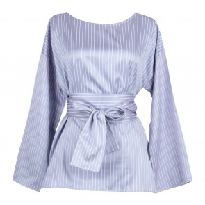 Shop At Velvet Purple And White Striped Tied Blouse