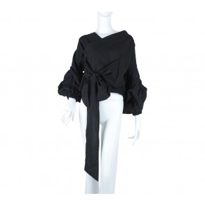 ATS The Label Black Wrap Blouse