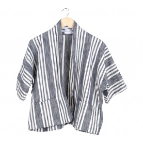 Anokhi Dark Blue And Off White Outerwear