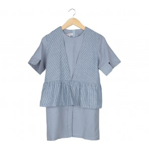 Deways Grey Striped Mini Dress