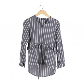 Label Eight Grey And White Striped Blouse