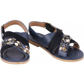 Pvra Dark Blue And Black Sandals