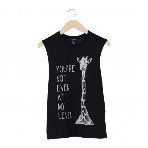 Forever 21 Black Printed Sleeveless T-Shirt