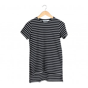 Cotton Ink Black And White Striped Slit T-Shirt