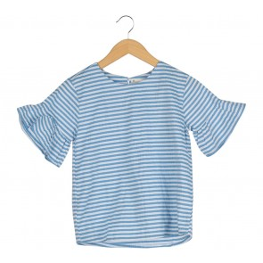 Dot Dtails Blue And White Striped Blouse