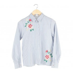 Cotton Ink Blue And White Striped Cornelia Shirt