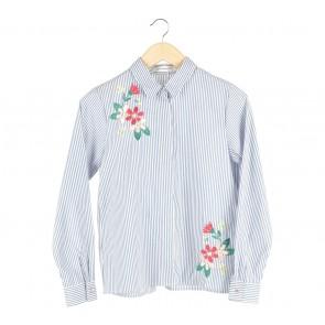 Cotton Ink Blue And White Striped Cornelia Shirt