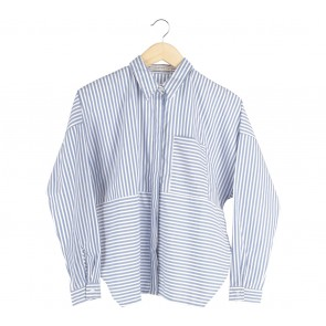 Cotton Ink Blue And White Striped Suki Shirt