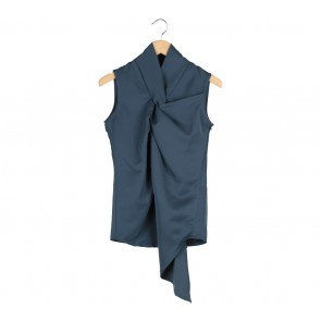 ATS The Label Dark Blue Slit Blouse