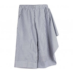 Dot Dtails Grey And White Striped Layered Pants