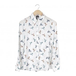 Mango Off White Bird Patterned Shirt