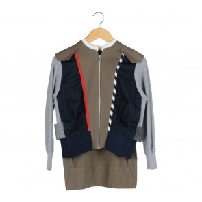 Oline Workrobe Multi Colour Pleated Bomber Jaket