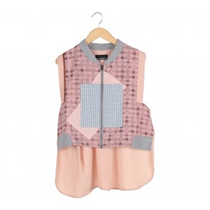 Oline Workrobe Pink And Grey Vest