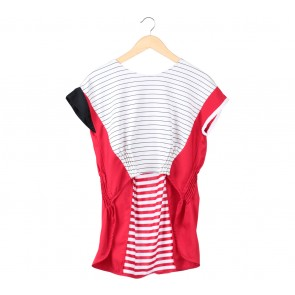 Oline Workrobe Red And White Striped Blouse
