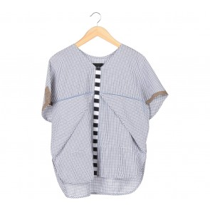 Oline Workrobe White And Black Plaid Blouse