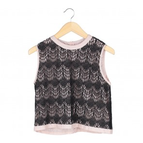 Ciel Black And Pink Lace Sleeveless