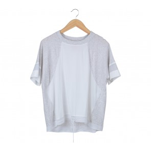 Nike White And Grey Sheer Insert T-Shirt