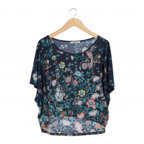 Pull & Bear Dark Blue Floral Batwing Blouse