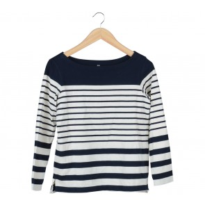 UNIQLO Dark Blue And Cream Striped T-Shirt