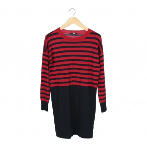 UNIQLO Dark Blue And Red Striped Midi Dress