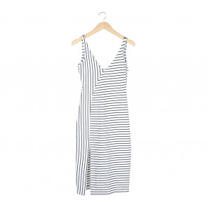 Zara Black And White Striped Slit Midi Dress