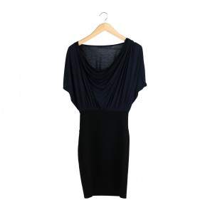 Zara Dark Blue And Black Midi Dress