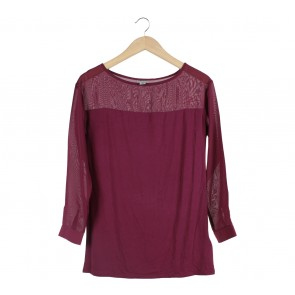 DKNY Purple Sheer Insert Blouse
