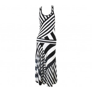 DKNY White And Black Long Dress