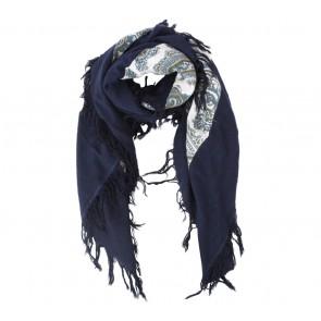 Massimo Dutti Dark Blue Floral Scarf