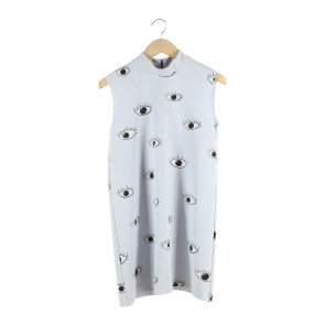 Zara Blue Abstract eyes pattern Mini Dress