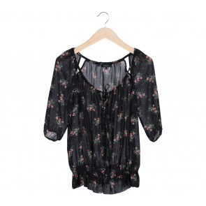 Guess Black Floral Blouse