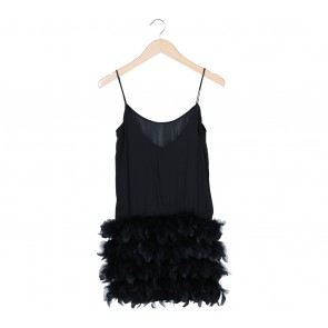 Stradivarius Black Furry Sleeveless Mini Dress