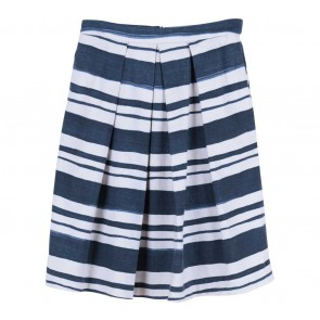 Zara Blue And White Striped Midi Skirt