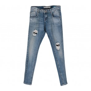 Zara Blue Denim Ripped Pants