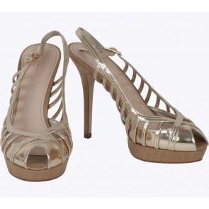Charles and Keith Gold And Brown Platform Heels
