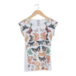 Zara Off White Butterfly Pattern T-Shirt