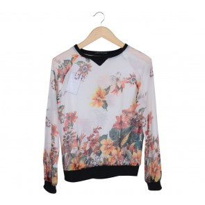 Zara White And Multi Floral Blouse