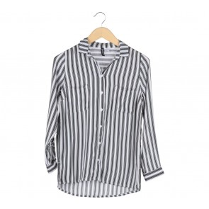 Divided Black And White Striped Shirt