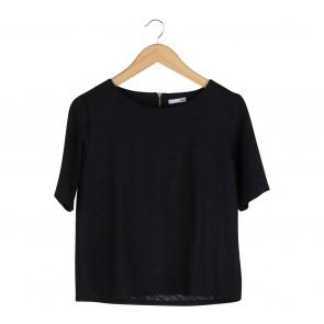 H&M Black Textured Blouse