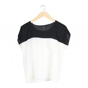 Forever 21 Black And White Colourblock Short Sleeve Blouse