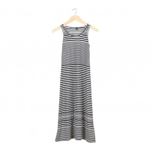 H&M Black And White Striped Sleeveless Long Dress