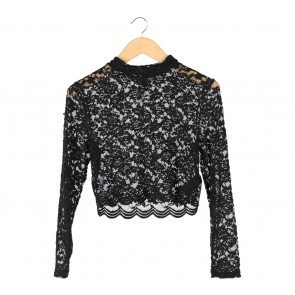 Divided Black Floral Lace Sheer Blouse
