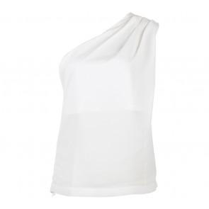 Lookboutiquestore Off White One Shoulder Blouse